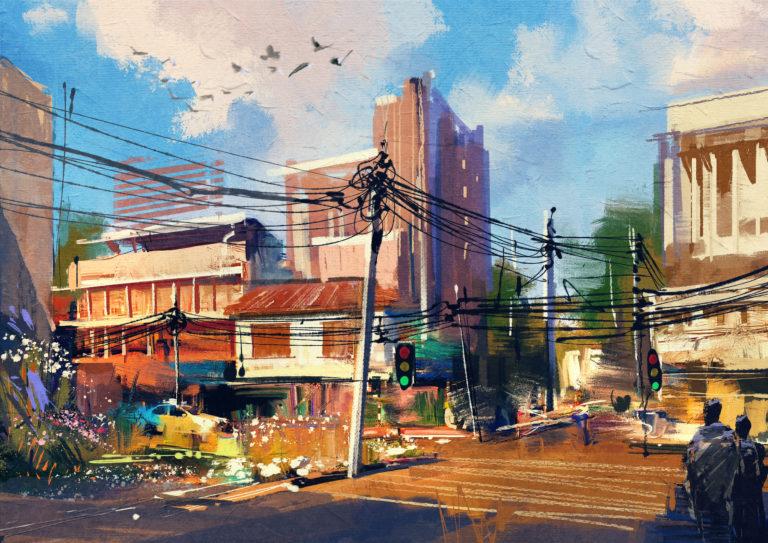 美しい晴れた日に都市交通とストリートシーンを示すデジタル絵画